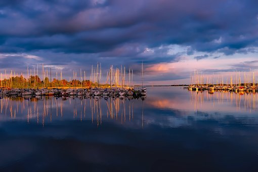 Denmark, Sky, Clouds, Sunset, Dusk, Boats, Ships
