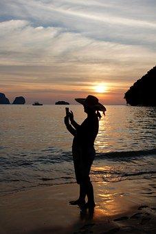 Sunset, Take A Snapshot, Photograph, M, Hand