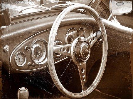 Antiqued Image, Vintage Car, Interior, Dashboard