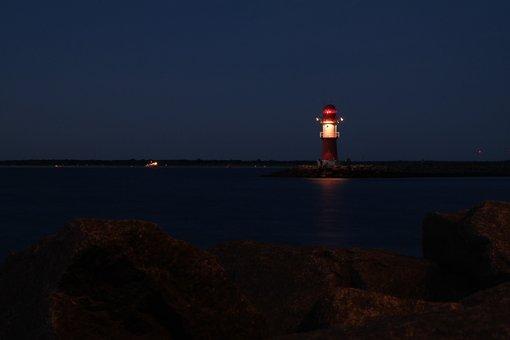 Lighthouse, Evening, Romantic, Water, Harbour Entrance