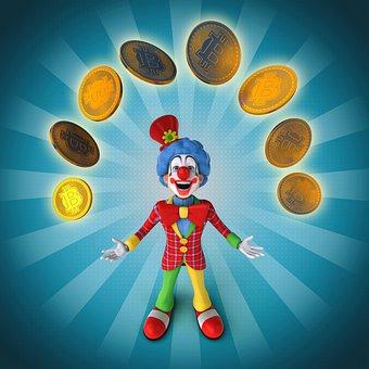 Clown, Circus, Comedy, Fun, Show, Laugh, Bitcoin, 3d