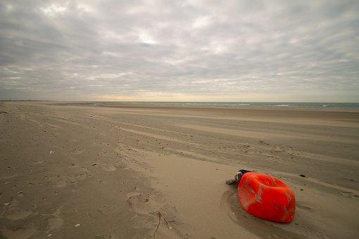 Beach, Buoy, Sand, Sea, Ocean, Horizon, Sky, Clouds