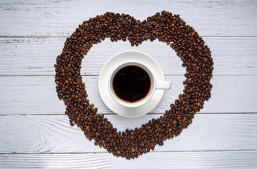 Coffee, Coffee Beans, Flat Lay, Roasted, Heart, Beans