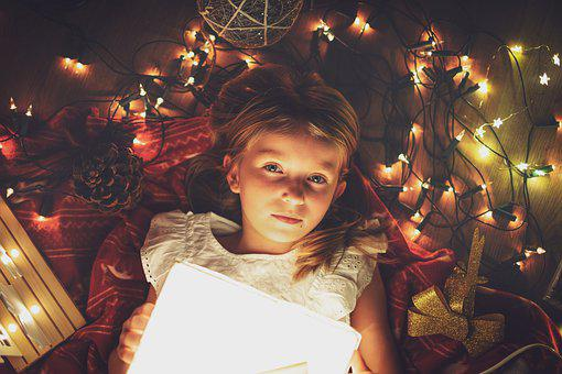 Girl, Kid, Christmas Lights, Christmas, Beautiful