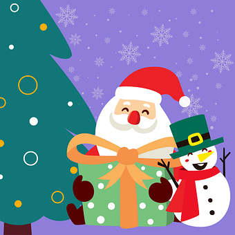 Santa Claus, Snowman, Tree, Winter, Snow, December