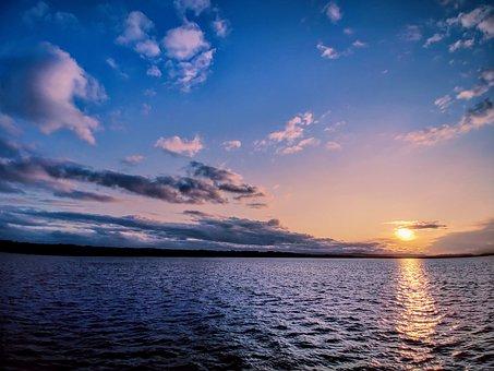 Clouds, Sunset, Evening, Summer, Dawn, Dusk, Lake