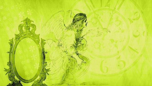 Angel, Time, Clock, Mirror, Transience, Deadline