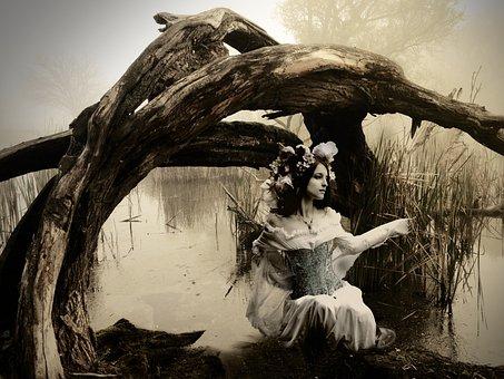 Girl, Marsh, Vintage, Composite, Dream, Portrait, Young