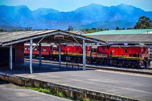 Train, Mountain, Red, Railway, Locomotive, Travel