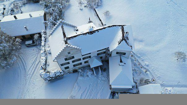 Villa, Snow, Winter, Rural, Houses, Roofs, Roofing