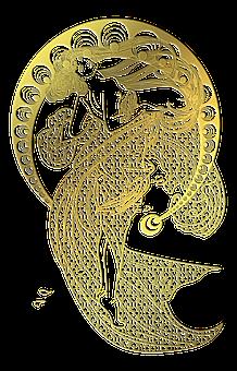Gold Foil, Woman, Art Nouveau, Line Art, Long Dress