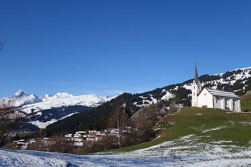Church, Snow, Mountain Landscape, Siat, Surselva