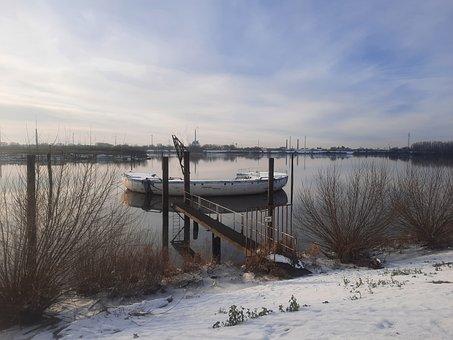 Holzhafenufer, Hamburg, Hamburgensien, Winter