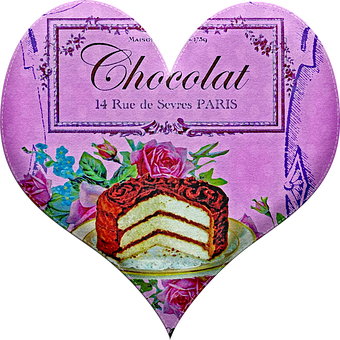 Heart, Valentine, Chocolate Advertising, French, Love