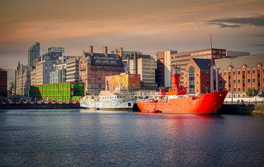 Ships, Buildings, Port, Cargo Ships, Liverpool, England
