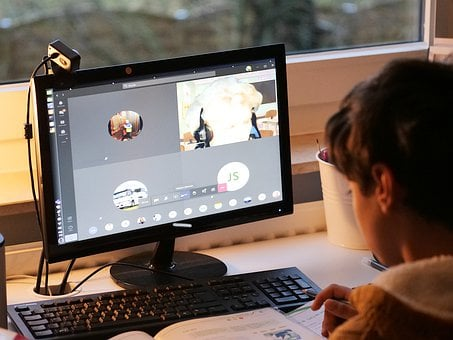 Child, Student, Video Conference, Computer, Monitor