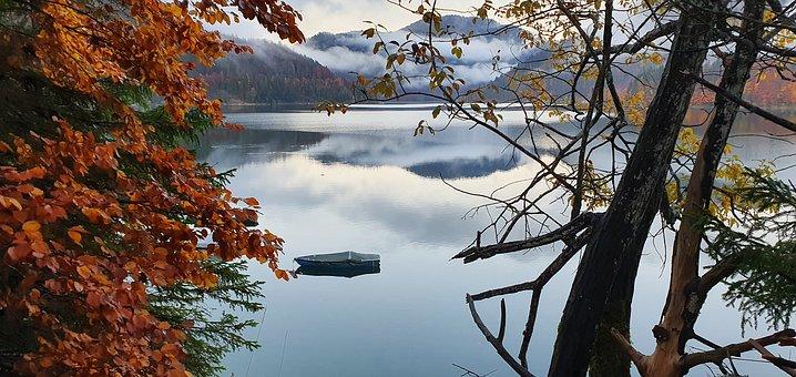 Mountains, Lake, Boat, Autumn, Leaves, Foliage