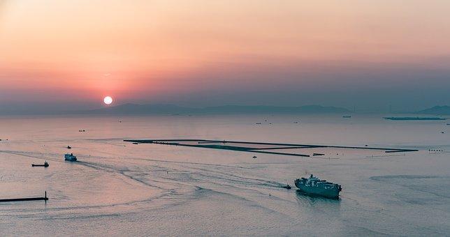 Panorama, Sea, Osaka Bay, Sunset, Haze, Ship