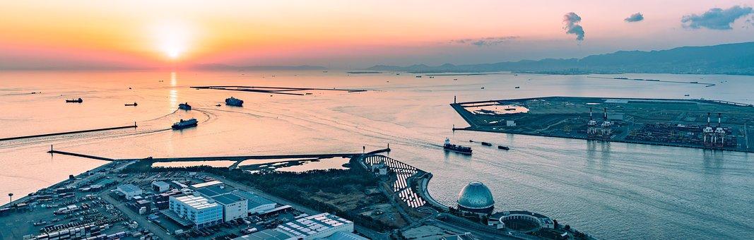Landscape, Panorama, Sunset, Sea, Ship, Cargo Ship