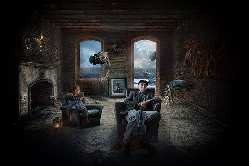 Musician, Abandoned Room, Photomontage, Mysterious