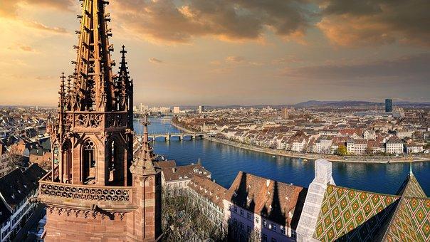 Basel, Rhine, Church, River, Steeple, Bridges, Roofs