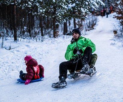 Snow, Sledding, Man, Child, Snow Field, Slopes