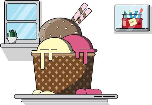 Ice Cream, Cup, Dessert, Food, Gelato, Wafer Stick