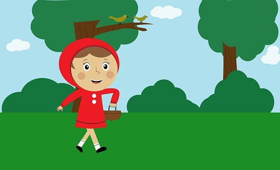 Girl, Red Riding Hood, Cartoon, Character, Kid, Child
