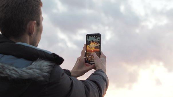 Phone, Sunset, Photo, Sea, Ocean, Sky, Nature