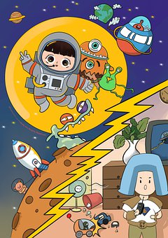 Astronaut, Moon, Monsters, Spaceship, Universe, Space