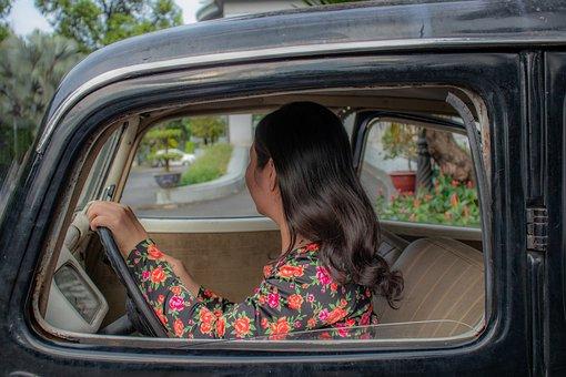 Woman, Car, Driving, Vintage, Driving Car, Drive