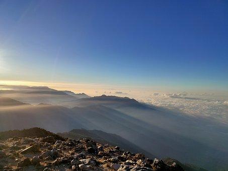 Sun, Landscape, Dawn, Mountains, Hiking, Clouds