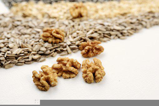 Walnuts, Cores, Sunflower Seeds, Healthy, Food