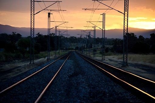 Train-track, Train, Sunset, Sky, Railway, Travel