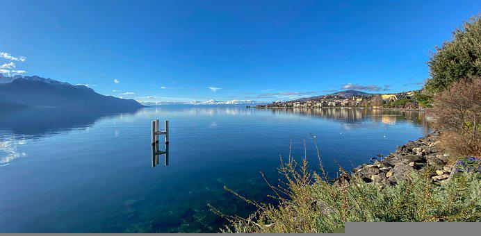 Lake, Water, Sky, Blue, Calm, Serenity, Pontoon
