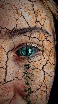 Desert, Dry, Nature, Eye, Eyes, Blue, Face, Woman, Girl