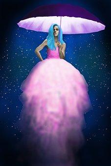Jellyfish, Jellyfish Dress, Fashion, Woman, Light, Glow