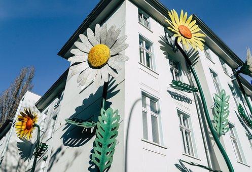 House, Building, Facade, Decoration, Design, Flowers