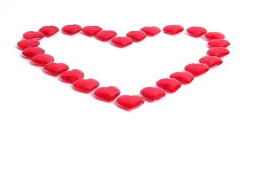 Valentine's Day, Heart, Glass, Dekoherz, Red, Deco