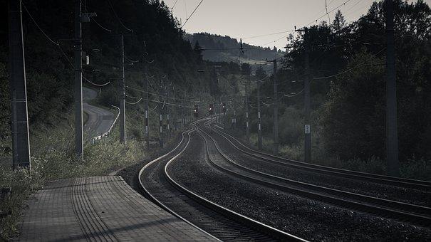 Railway, Gleise, Mountain Railway, Gloomy