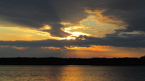 Sunset, River, Trees, Silhouette, Sunlight, Clouds, Sky