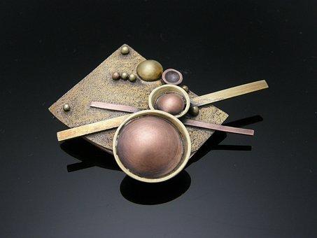 Brass, Brooch, Ball Work