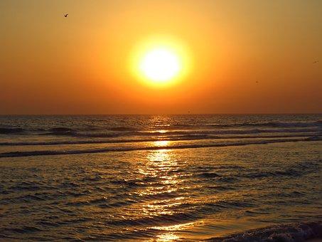 Sunset, Beach, Summer, Portugal, Costa Da Caparica