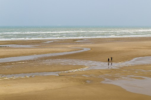 Beach, France, Sea, Ebb, Coast, Holiday, Pair