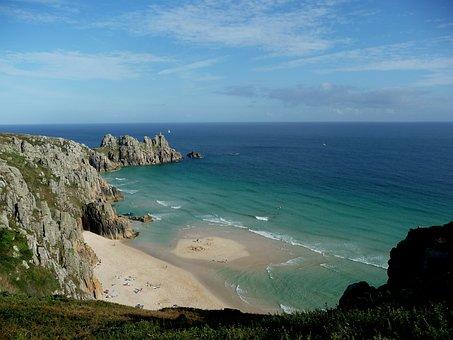 Cornwall, Holiday, Treen, Beach, Uk, Sand, Sea, Blue