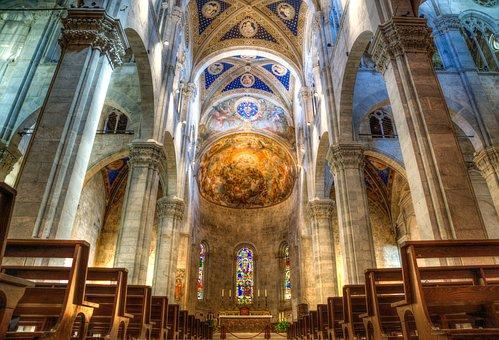 Church, Hdr, Lucca, Colour, Bright, Vivid, Architecture