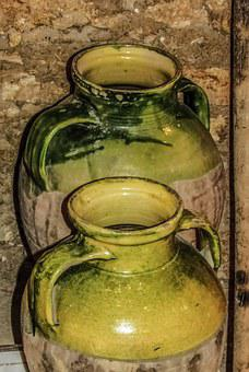 Cyprus, Dherynia, Folklore Museum, Vases, Containers