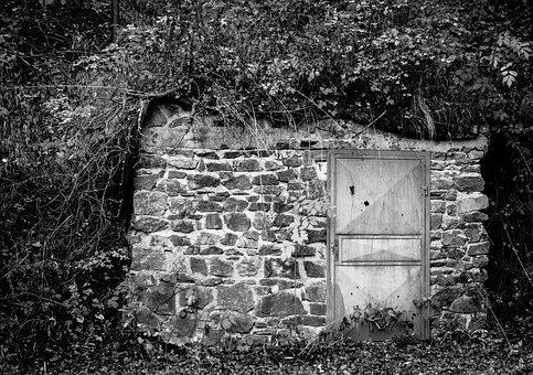 Entrance, Door, Scary, Forest, Black And White, Pillbox
