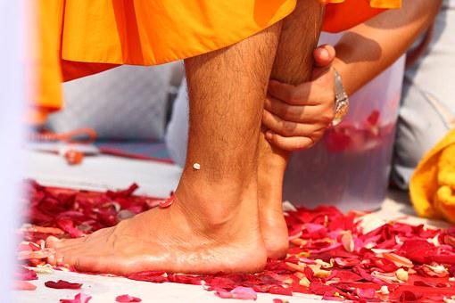 Buddhists, Washing, Feet, Monks, Walk, Tradition
