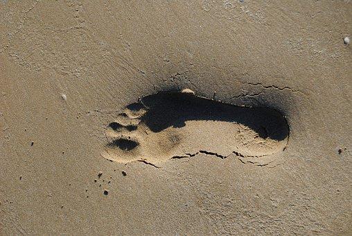 Footprint, Beach, Cadiz, Sand, Tourism, Peaceful